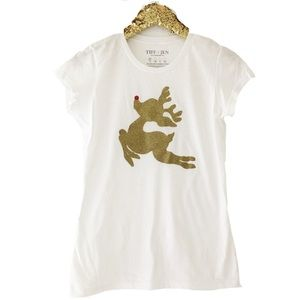 Rudolph Reindeer Gold Glitter Ink Fitted Tee